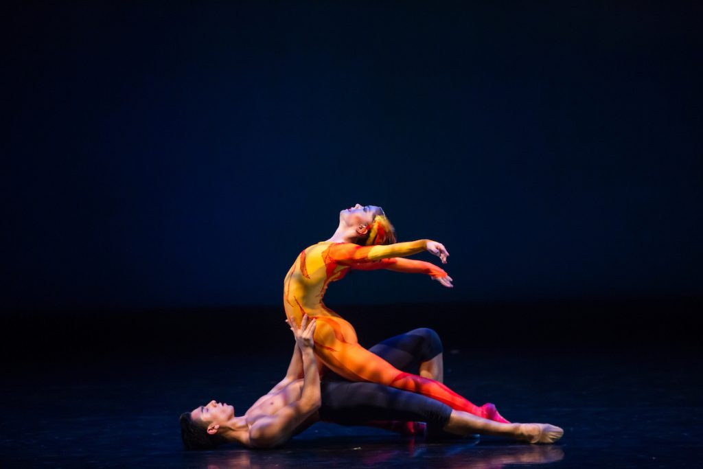 Two dancers performing in Firebird: Essence of Being