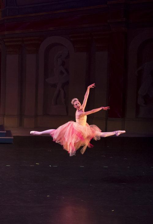 Dancer midair during a performance of The Nutcracker Ballet
