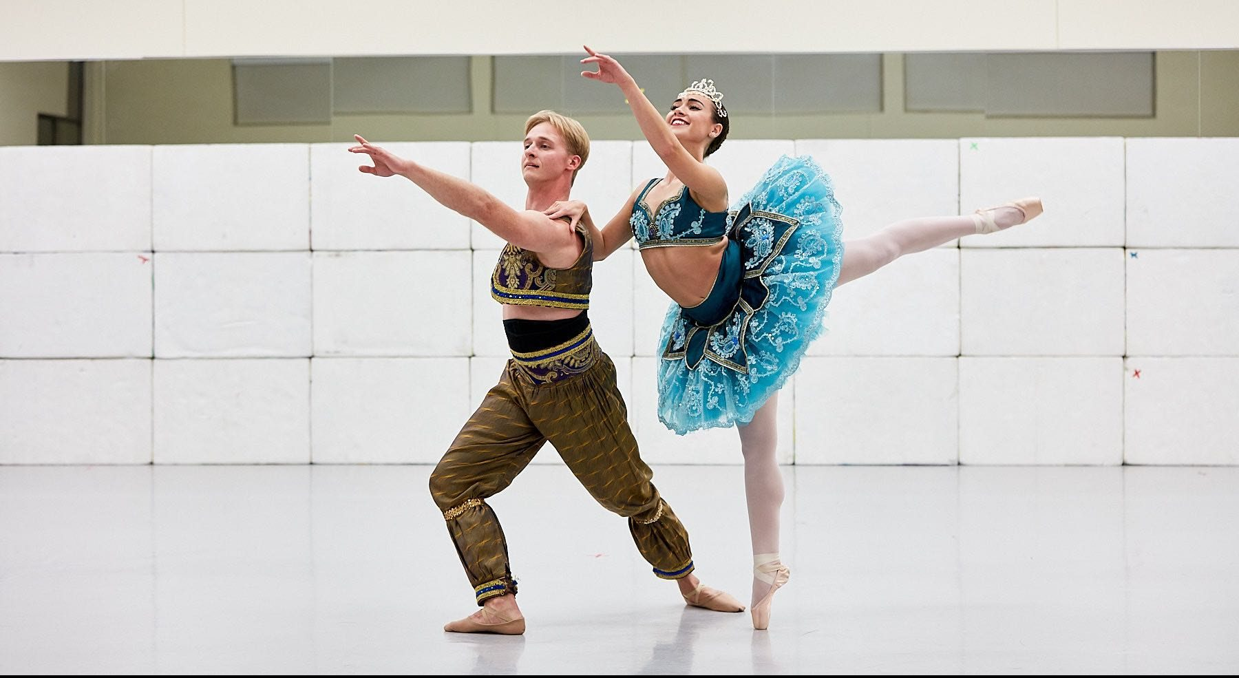 Two dancers rehearsing an upcoming performance